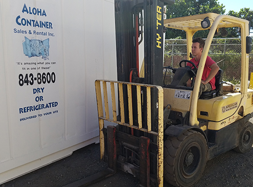 Aloha container small and large forklift rental